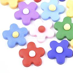 Cabochons en pâte polymère manuels, fleur, couleur mixte, 24x24x8.5mm(CLAY-S091-17)