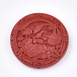 Cinnabar Beads, Carved Lacquerware, Flat Round with Flower and Bird, Red, 51.5x10mm, Hole: 2mm(X-CARL-T001-04)