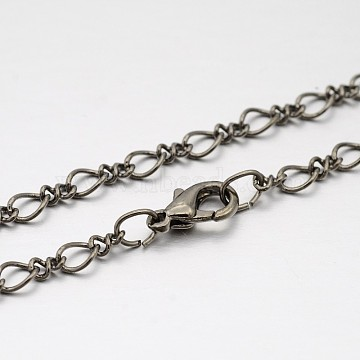 Brass Figaro Chain Necklace Making, with Brass Lobster Claw Clasps, Thin Chain, Gunmetal, 16.5 inches(MAK-J009-16B)