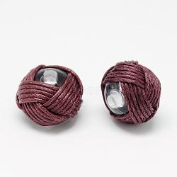 Perles faites à la main, acrylique recouvert de cordon ciré, plat rond, firebrick, 18~20x14~16mm, Trou: 3mm(X-WOVE-R100-04)