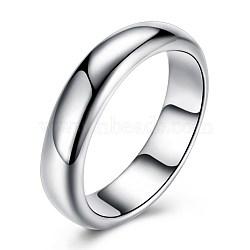 925 anneaux en argent sterling, anneaux de large bande, taille 6, argent, 16.5 mm(RJEW-BB30290-6)