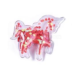 Pinces à cheveux en alligator en plastique, avec paillette en forme de coeur et base en fer platiné, licorne, rouge, 53x63x12mm(PHAR-L005-E01)