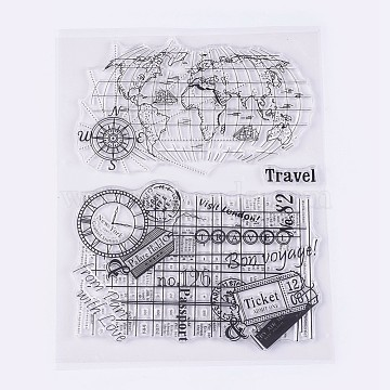 Silicone Stamps, for DIY Scrapbooking, Photo Album Decorative, Cards Making, World Map, Clear, 9~83x28~125mm(X-DIY-L010-Y42)