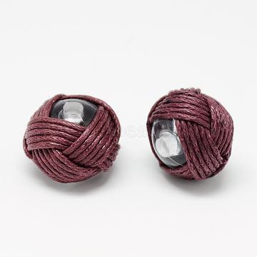 Handmade Beads, Acrylic covered with Waxed Cord, Flat Round, FireBrick, 18~20x14~16mm, Hole: 3mm(X-WOVE-R100-04)