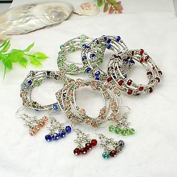 Glass Jewelry Sets, Bracelets and Earrings, with Tibetan Style Beads, Brass Tube Beads, Steel Memory Wire and Brass Earring Hooks, Mixed Color, Earrings: 40mm, Bracelets: 55mm(SJEW-JS00246)