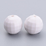 Opaque Acrylic Beads, Earth Bead, White, 18mm, Hole: 2mm
