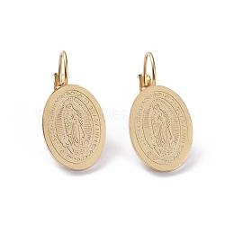 thème de la religion 304 boucles d'oreilles à levier en acier inoxydable, boucles d'oreilles hypoallergéniques, ovale avec vierge marie, or, 26.7 mm, pin: 0.7 mm(EJEW-I239-06A-G)