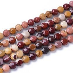 perles de Mookaite naturel brins, plat rond, facettes, 6~7x4~5 mm, trou: 0.8~1 mm; environ 58~66 perle / brin, 14.57 15.35 cm)(G-L532-21)