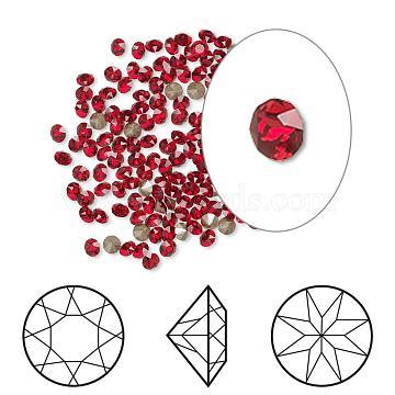 Austrian Crystal Rhinestone Cabochons, Crystal Passions, Foil Back, Xirius Round, 1088, 227_Light Siam, 8.164~8.421mm(1088-SS39-F227)