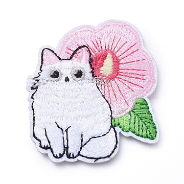 Computerized Embroidery Cloth Iron on/Sew on Patches, Costume Accessories, Appliques, Cat with Flower, Colorful, 58x52x2mm(X-DIY-E025-A08)