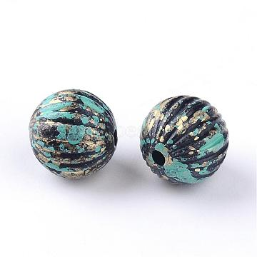 Antique Style Acrylic Beads, Round, Antique Bronze, 9~10mm, Hole: 1.5mm; about 904pcs/500g(OACR-S013-2586A)