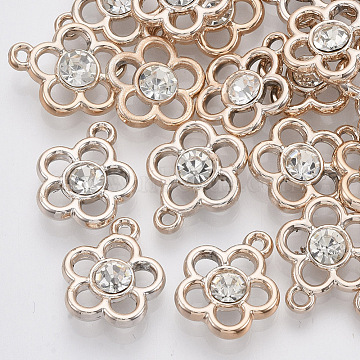 UV Plating ABS Plastic Pendants, with Acrylic, with Crystal Rhinestone, Light Gold, Flower, Clear, 17x15x5mm, Hole: 1.5mm(X-KY-N007-32)