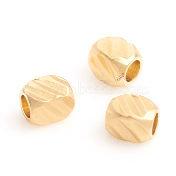 Matte Style Brass Beads, Long-Lasting Plated, Textured, Cuboid, Real 14K Gold Plated, 3x2.5x2.5mm, Hole: 1.5mm(X-KK-L155-21MG)