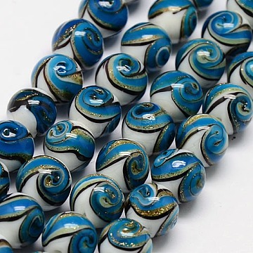 Handmade Glass Gold Sand Lampwork Round Beads Strands, Dodger Blue, 12mm, Hole: 1~2mm, about 16pcs/strand, 7.08 inches(X-PORC-L013-03)