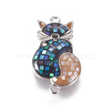 Platinum Colorful Cat Brass+Enamel Links
