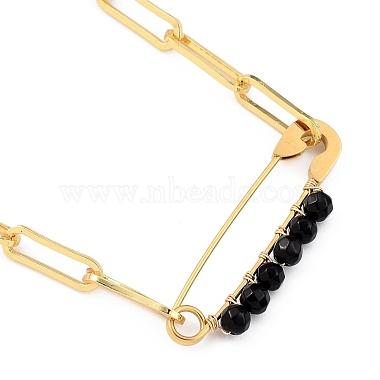 Natural Black Agate Pendant Necklaces(NJEW-JN03013-01)-1