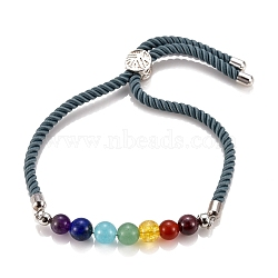 Chakra Jewelry, Adjustable Nylon Cord Slider Bracelets, Bolo Bracelets, with Natural & Synthetic Gemstone Beads and Brass Findings, Platinum, Cadet Blue, Inner Diameter: 2-5/8 inches(6.7cm), Slider Bead: 8.5x5.5mm(BJEW-JB05474-02)
