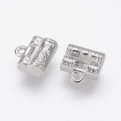 Пластиковые прелести ccb, замок навесной, платина, 12x12x5 mm, отверстия: 2 mm(CCB-J035-059P)