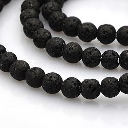 """Chapelets de perles rondes en lave naturelle, 3.5~4.5mm, trou: 1mm; environ 102 pcs/chapelet, 15.7""""(G-N0120-18-4mm)"""