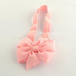 Мило упругой ребенок повязки аксессуары для волос с бантом поделок ткани, розовые, 105 мм(X-OHAR-Q002-04F)