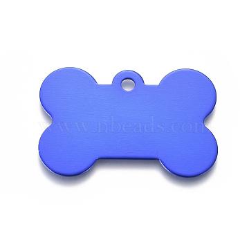 Pendentifs d'animal de compagnie en aluminium, estampillage d'une étiquette vierge, os, bleu, 25x38x1mm, Trou: 3mm(ALUM-I002-06C)