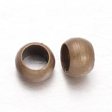 Rondelle Brass Crimp Beads, Antique Bronze, 3x2mm, Hole: 1.5mm, about 520pcs/20g(X-KK-L134-31AB)