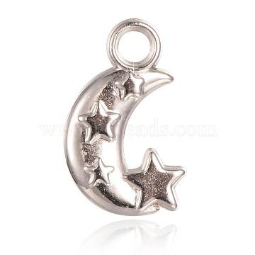 CCB Plastic Pendants, Moon and Star, Platinum, 19x11x3mm, Hole: 3mm(CCB-J028-18P)