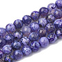 Natural Fire Agate Beads Strands, Dyed, Round, Slate Blue, 8mm, Hole: 1.5mm; about 50pcs/strand, 14.96 inches