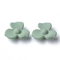 Boutons en acrylique, caoutchouté, 1-trou, fleur, vert de l'océan profond, 25x28.5x12mm, Trou: 3mm(MACR-T024-03E)
