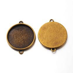 тибетского стиля кабошон параметры соединителя, чашки безель с краем, свинца и никеля бесплатно, плоские круглые, античная бронза, 28x36x3 mm, лоток: 25 mm, отверстия: 2 mm(X-TIBE-C074-AB-FF)
