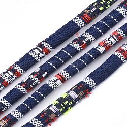 Cordes en tissu de style ethnique, avec cordon en coton à l'intérieur, colorées, 6.5~7x5 mm; environ 100 m / bundle(OCOR-S034-25)