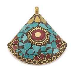 Gros pendentifs indonésiens manuels, avec des accessoires en laiton non plaqué, secteur, darkturquoise, 56x50.5x12mm, Trou: 5mm(IPDL-N001-02)