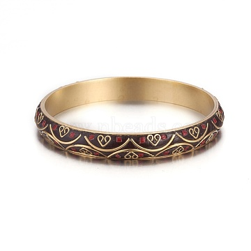 Handmade Brass Bangles, Indonesia Style, CoconutBrown, 2-5/8inches(6.65cm)(BJEW-P249-E01)