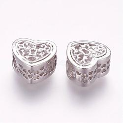 Perles en laiton, cœur, creux, platine, 10.5x11x6mm, Trou: 4.5mm(ZIRC-G092-11P)