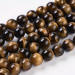 Natural Tiger Eye Beads Strands, Dyed, Round, Goldenrod, 8mm