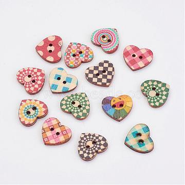 Wooden Buttons, 2-Hole, Heart, Mixed Color, 16x18x2.5mm, Hole: 1.5mm(BUTT-K005-16x18mm)