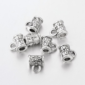 Tibetan Style Alloy Column Hanger Links, Bail Beads, Lead Free and Cadmium Free, Antique Silver, about 5.5mm in diameter, 7.5mm long, hole: about 2.5mm(X-AC598)
