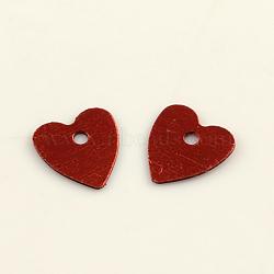 Accessoires ornement de perles de paillette coeur en plastique, perles de paillettes, rouge, 8x7x0.2 mm, trou: 1 mm(X-PVC-Q032-7mm-3)