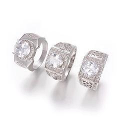 304 anneaux en acier inoxydable, avec zircons, anneaux de large bande, effacer, couleur inox, taille 10, 20 mm(RJEW-O034-12P-20mm)