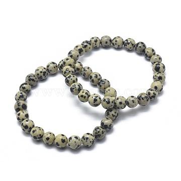 Natural Dalmatian Jasper Bead Stretch Bracelets, Round, 2inches~2-3/8inches(5~6cm); Bead: 5.8~6.8mm(X-BJEW-K212-A-014)