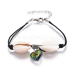 """Bracelets chinois en cordon de coton ciré à plusieurs rangs, avec des billes de verre électrolytique, perles de coquillage et alliage de style tibétain, colorées, 7-1/2"""" (19 cm), 2mm(BJEW-JB04105-04)"""