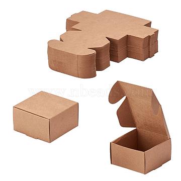 Kraft Paper Box, Folding Box, Square, Tan, 6.2x6.2x3.5cm(CON-WH0036-01)