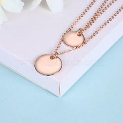 """Pendentif en argent sterling avec pendentif Colliers étagés, plat rond, or rose, 15.75"""" (40 cm)(NJEW-BB28788-B)"""