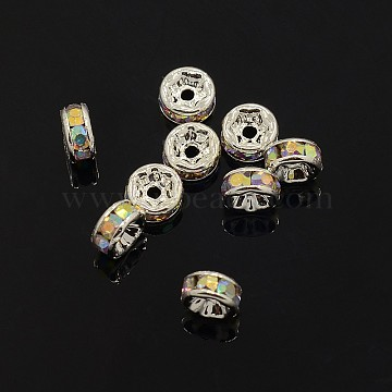 Brass Rhinestone Spacer Beads, Grade AAA, Straight Flange, Nickel Free, Silver Color Plated, Rondelle, Crystal AB, 6x3mm, Hole: 1mm(X-RB-A014-Z6mm-28S-NF)