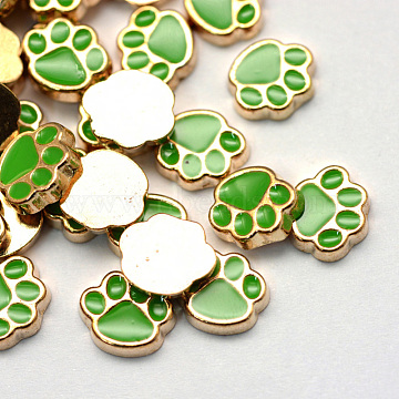 Enamel Style Alloy Cabochons, Floating Charms, DIY for Floating Lockets Glass Living Memory Lockets, Dog Paw Print, Light Gold, Lime Green, 8.9x9.2x2mm(X-ENAM-S086-74A)