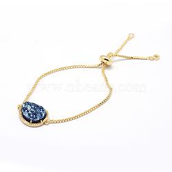 bracelets bolo en laiton avec zircon cubique, bracelets de slider, avec des cabochons d'agate druzy naturels et galvanisés, or, bleu, 9-1 / 2 (240 mm)(BJEW-A108-01G)