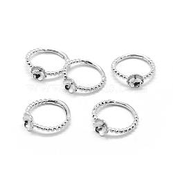 Brass Finger Ring Components, For Half Drilled Beads, Adjustable, Platinum, 16mm(KK-L184-58P)