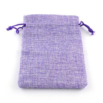 Polyester Imitation Burlap Packing Pouches Drawstring Bags, Medium Purple, 14x10cm(X-ABAG-R005-14x10-03)