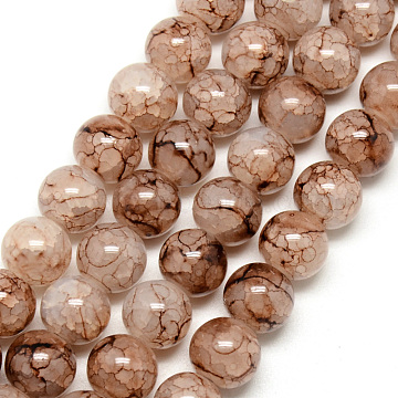 Baking Painted Crackle Glass Beads Strands, Round, Camel, 8mm, Hole: 1.3~1.6mm; about 100pcs/strand, 31.4inches(X-DGLA-Q023-8mm-YS56)