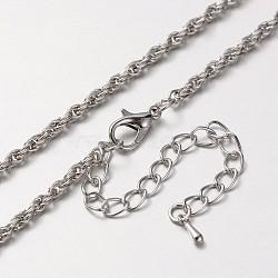"""Fer corde chaîne étoffe collier, avec des agrafes en alliage pince de homard et chaînes embouts de fer, platine, 29.5""""(MAK-J004-20P)"""